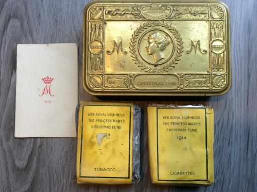 1914 Queen Mary tin with tobacco, cigarettes and Xmas card